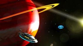 Volo del UFO attraverso lo spazio, rappresentazione astratta del fondo 3D royalty illustrazione gratis