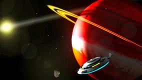 Volo del UFO attraverso lo spazio, rappresentazione astratta del fondo 3D illustrazione di stock