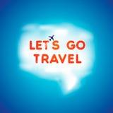 Volo dell'aeroplano attraverso una nuvola nel fumetto di forma Immagini Stock Libere da Diritti