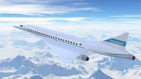 Volo dell'aeroplano di linee aeree dell'asta nel cielo illustrazione 3D Immagini Stock