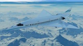 Volo dell'aeroplano di linee aeree dell'asta nel cielo illustrazione 3D Immagine Stock