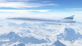 Volo dell'aeroplano di linee aeree dell'asta nel cielo illustrazione 3D Fotografia Stock Libera da Diritti