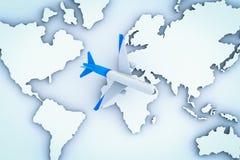 Volo dell'aeroplano sopra la mappa di mondo Immagini Stock