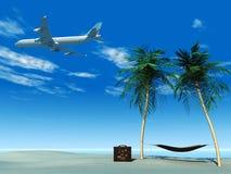 Volo dell'aeroplano sopra la spiaggia tropicale. Immagine Stock
