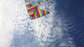 Volo dell'aquilone dell'arcobaleno in cielo blu stock footage