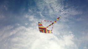 Volo dell'aquilone dell'arcobaleno in cielo blu video d archivio