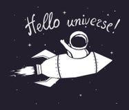 Volo dell'astronauta nello spazio cosmico sul razzo illustrazione di stock