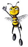 Volo dell'eroe eccellente dell'ape del miele in su Fotografia Stock Libera da Diritti