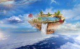Volo dell'isola nel cielo Fotografia Stock Libera da Diritti