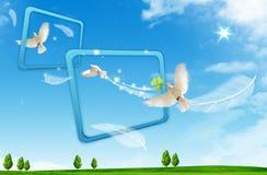 Volo dell'uccello attraverso le strutture del usuale Fotografia Stock Libera da Diritti
