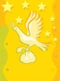Volo dell'uccello con un regalo Fotografie Stock Libere da Diritti