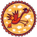 Volo dell'uccello in un cielo giallo Immagini Stock Libere da Diritti