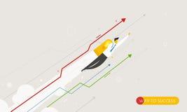 Volo dell'uomo d'affari con i jetpacks che guardano al illustrazione vettoriale