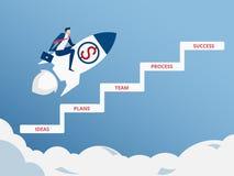 Volo dell'uomo d'affari sull'inizio del razzo fino a successo Volando al concetto di successo Punto della scala al concetto di su illustrazione di stock