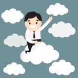 Volo dell'uomo d'affari sulla nuvola Sfera differente 3d Vettore Illustratio Immagine Stock