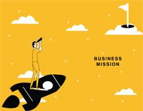 Volo dell'uomo di affari su Rocket royalty illustrazione gratis