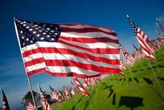Volo della bandiera americana in vento Fotografia Stock