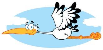 Volo della cicogna nel cielo Fotografia Stock Libera da Diritti