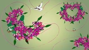 Volo della colomba con i fiori Fotografia Stock