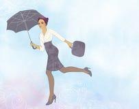 Volo della donna in aria aperta con l'ombrello Illustrazione Vettoriale