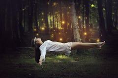 Volo della donna con i fatati della foresta fotografia stock