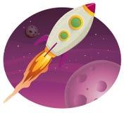 Volo della nave del Rocket nello spazio illustrazione di stock