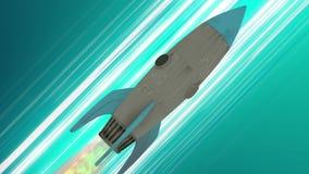 Volo della nave di Rocket con l'animazione dello spazio Linee diagonali blu di velocità di anime Fondo di moto di spazio royalty illustrazione gratis