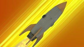 Volo della nave di Rocket con l'animazione dello spazio Linee diagonali gialle di velocità di anime Fondo di moto di spazio illustrazione di stock
