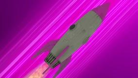 Volo della nave di Rocket con l'animazione dello spazio Linee diagonali rosa di velocità di anime Fondo di moto di spazio illustrazione di stock