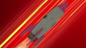 Volo della nave di Rocket con l'animazione dello spazio Linee diagonali rosse di velocità di anime Fondo di moto di spazio illustrazione di stock