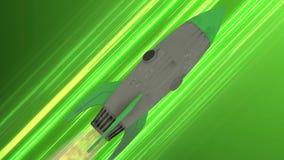 Volo della nave di Rocket con l'animazione dello spazio Linee diagonali verdi di velocità di anime Fondo di moto di spazio illustrazione vettoriale