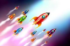 Volo della nave di Rrockets nello spazio Illustrazione di vettore royalty illustrazione gratis