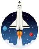 Volo della navetta nello spazio con le stelle Fotografia Stock