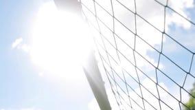 Volo della palla nella rete di calcio stock footage