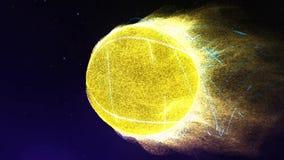 Volo della pallina da tennis nel ciclo delle fiamme 4K archivi video
