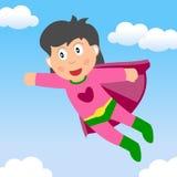 Volo della ragazza del supereroe nel cielo Fotografia Stock