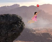 Volo della ragazza, pace, speranza, amore, natura, rinascita spirituale fotografie stock libere da diritti