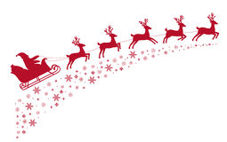 Volo della renna della slitta di Santa sul fondo delle stelle innevate