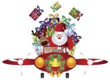 Volo della renna e della Santa in aereo dell'annata Immagine Stock