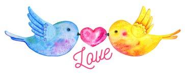 Volo delle coppie degli uccelli di amore con il cuore ed il titolo illustrazione vettoriale