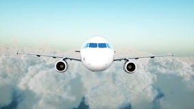 Volo di Airbus del passeggero nelle nuvole concetto di corsa rappresentazione 3d Fotografia Stock