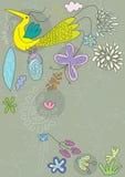 Volo di Bbird con i fiori Fotografia Stock