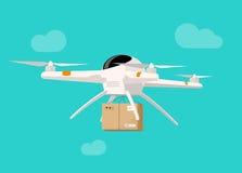 Volo di consegna del fuco nell'illustrazione di vettore della scatola del pacchetto di trasporto del cielo Fotografie Stock