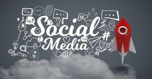 volo di 3D Rocket con i disegni di grafici sociali di media Immagini Stock