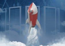 volo di 3D Rocket davanti ai server Fotografie Stock