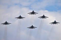 Volo di formazione MiG-29 Fotografia Stock Libera da Diritti