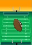 Volo di gioco del calcio sopra il campo Immagine Stock Libera da Diritti