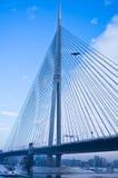 Volo di inverno intorno al ponte di cavo fotografia stock