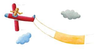 Volo di legno del pilota della bambola sull'aeroplano rosso, isolato sulla parte posteriore di bianco Immagine Stock