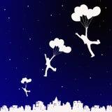 Volo di notte surreale Fotografia Stock Libera da Diritti